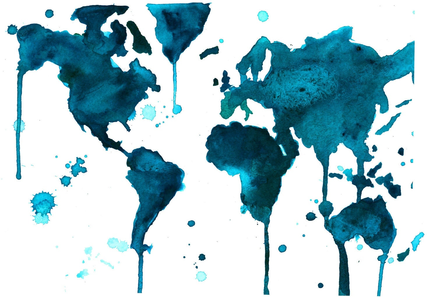 Watercolor World Map Painting by Jessica Durrant A Teal World