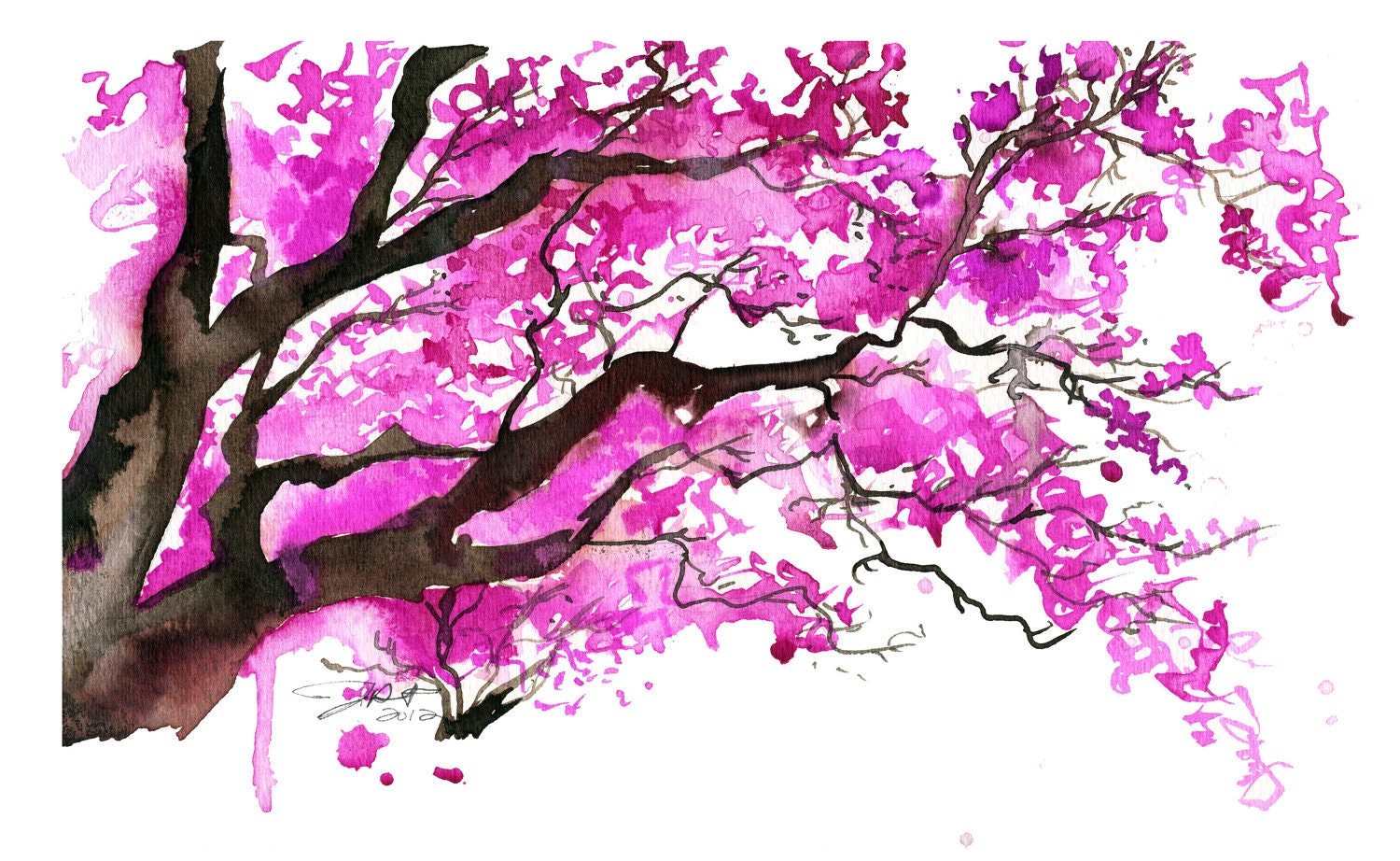 Watercolor Japanese Cherry Blossom Tree By Jessicaillustration