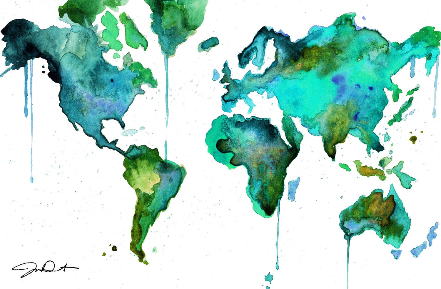 Watercolor world map no 6 for Cool watercolour
