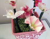 Pink and White Flower Pens and Flower Pot