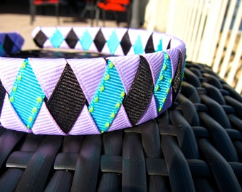 Funky Woven Ribbon Headband-black, light purple and turquoise