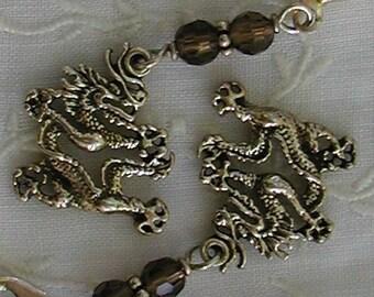 Zen Dragon Sterling Silver Earrings Wire Wrapped Smokey Quartz 925
