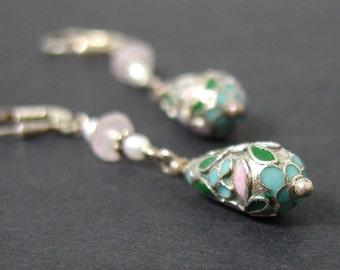 Cloisonne Sterling Silver Earrings Rose Quartz Pearl Long Drop Enamel Dangles Pink White