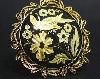 Spanish Toledo Bird Brooch Damascene Gold Filigree Edge Pin Spain Flower Inlay Round