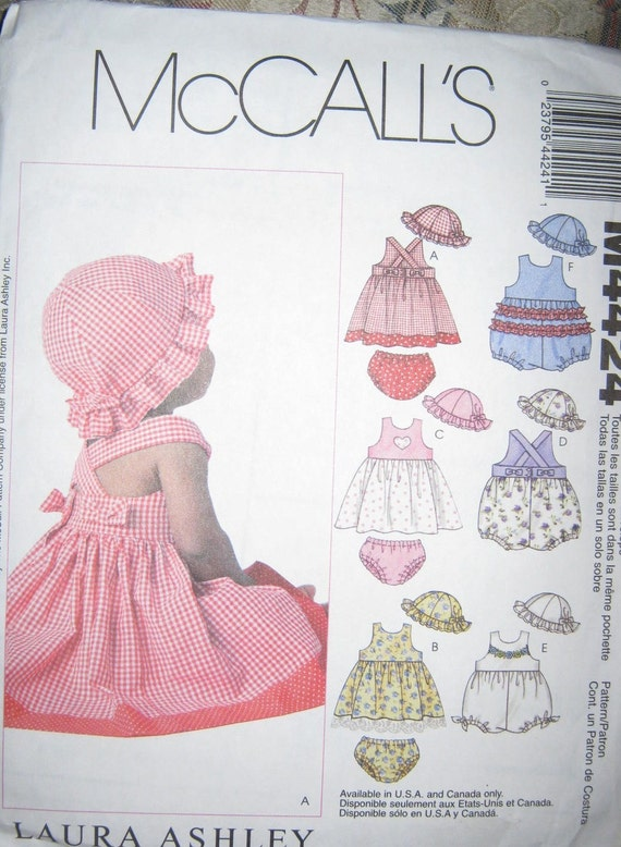 McCalls 4424 Babies Dress pattern  Panties Romper and Hat sz 6 thru 24month