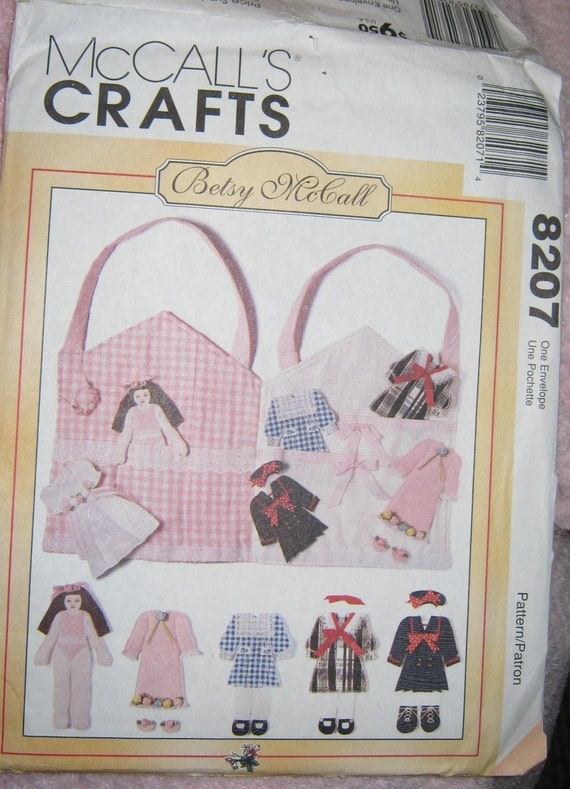 Reserved McCalls 8207 Betsy McCall Fabric Paper  Dolls pattern   and carry case 7 inch