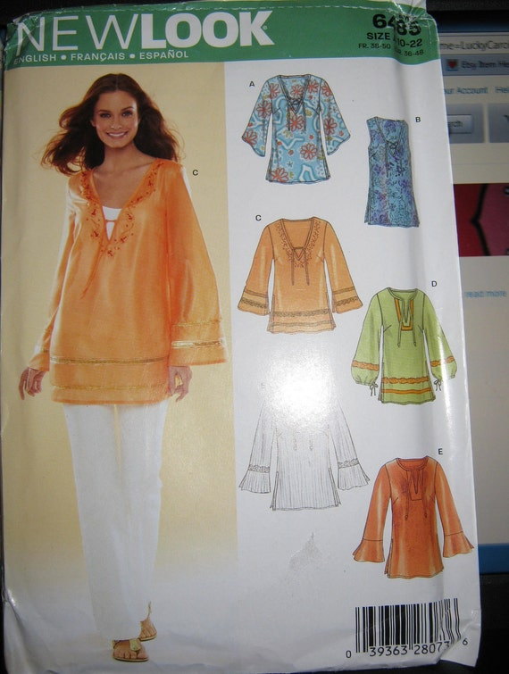 New Look 6458 Top pattern  5 styles    size  10 12 14 16  18 20 22