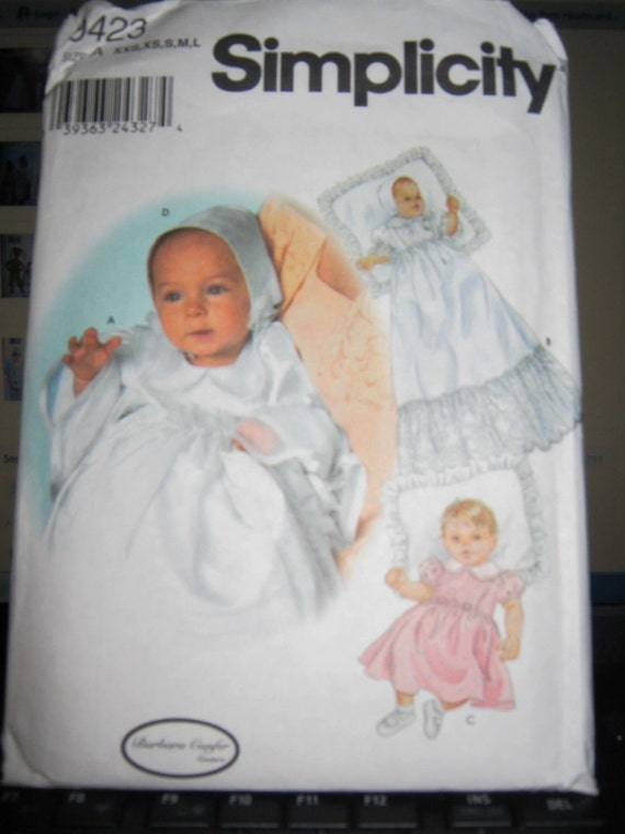 Simplicity 9423 Christening Gown Bonnet Sewing Pattern