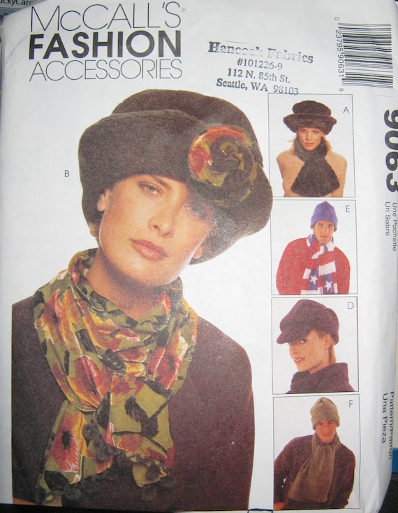 McCalls 9063  Adults   Hats and  scarves pattern