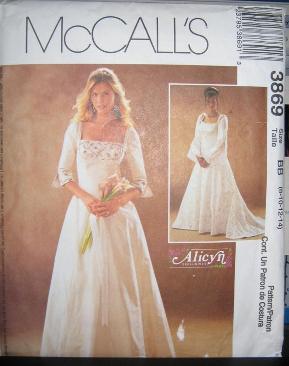 McCalls 3869 Evening Wedding Renassance  Dress pattern   size  8 10  12 14