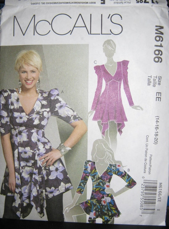 misses top   pattern  size    14 16 18 20    McCalls 6166