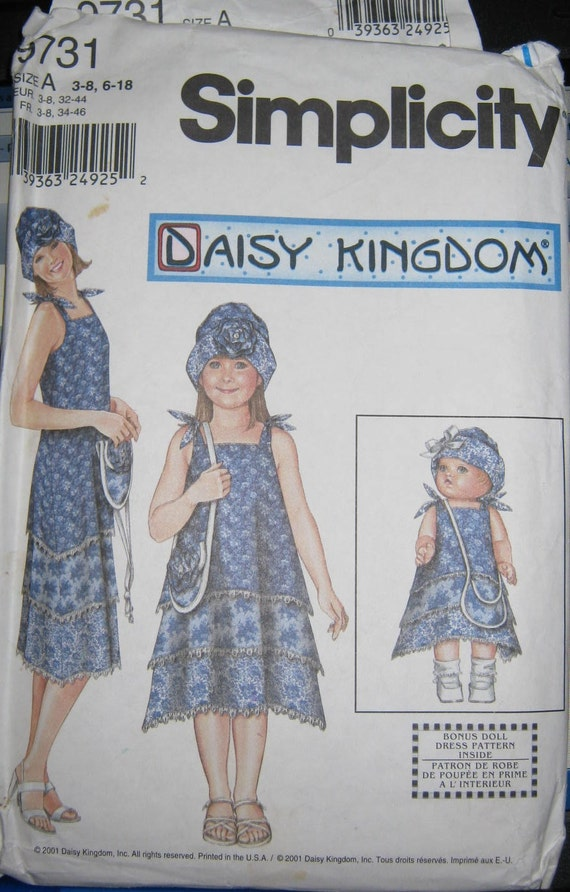 Simplicity 9731    Girls   and misses Daisy Kingdom Dress  pattern and Doll Dress size 3 thru 8 and 6 thru 18
