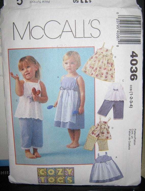 toddler pattern Girls apron  Dress pants top  sz 1  2 3 4   McCalls 4036