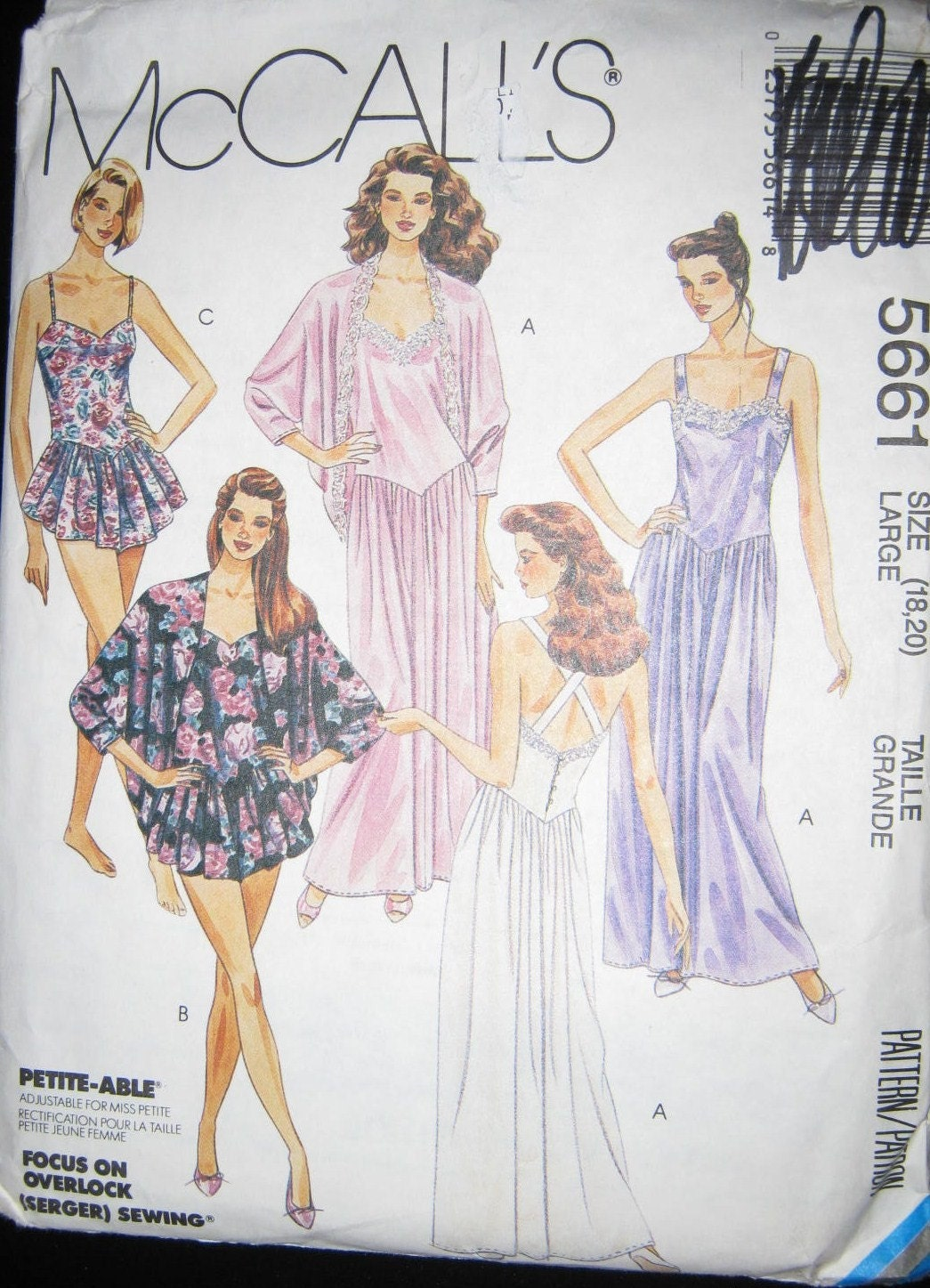 Mccalls 5661 Vintage 80s Pajamas And Nightgowns Pattern