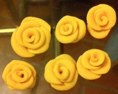 Yellow Roses Cabochons Polymer Clay