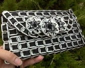 RESERVED for BELINDA.  Soda Pop Tab Clutch Wallet Purse in Black with Sparkle Stars