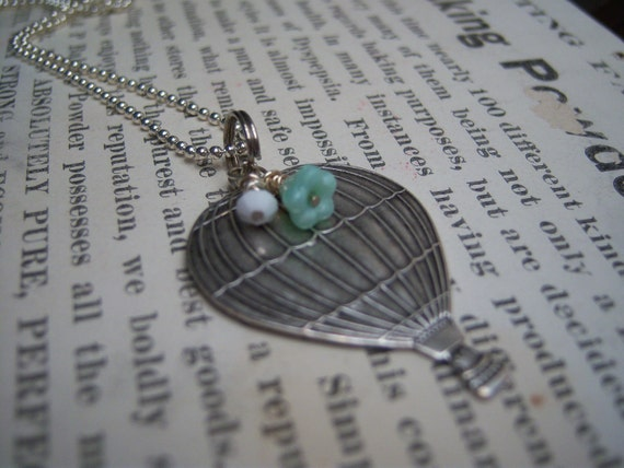 Hot Air Balloon. Balloon Necklace. Mint. Transportation. Fly. New Mexico.