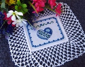 Blue heart doily