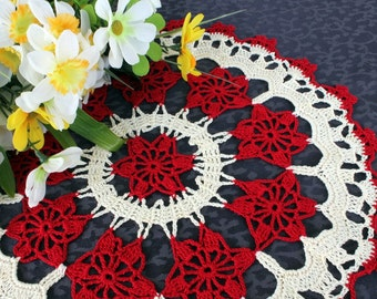 Red and Cream doily