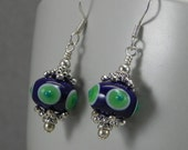 Lampwork Bead Earrings Lime Green and Navy Blue