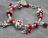 Valentine Lampwork Beaded Bracelet with Cherub and Love Charms