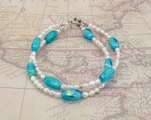 Bracelet Pearl and Vintage Bead Ocean Treasures