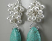 Turquoise and Pearl Cluster Earrings