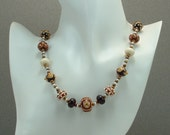 Lampwork Bead Necklace Fall Colors