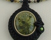 Necklace with Large Russian Serpentine Gemstone Cabochon
