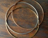 3 Simple Thin Bangles- Mixed Metals- Medium