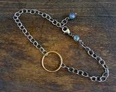 Gold Circle Bracelet with Labradorite