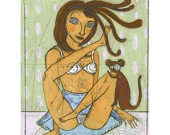 Jenny Mendes  Limited Edition Giclee - Monkey Business