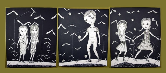 Black and White Large Ceramic Triptych - Ashurst Road  - From the old neighborhood