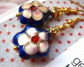 Spring Earrings by KolibriKado with Blue Cloisonné Flower Beads