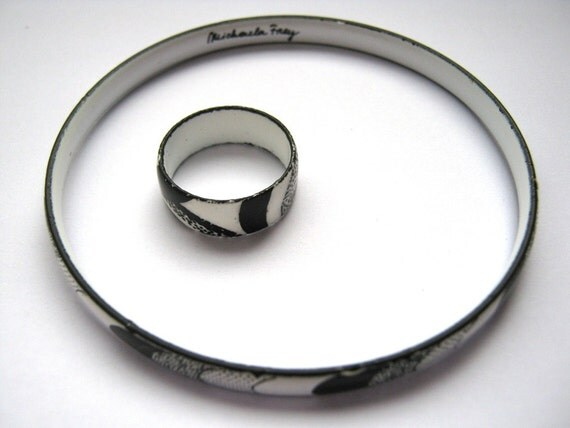 Vintage Bracelet and Ring (size 5.5) set by Michaela Frey Original-Enamel in black and white graphic design