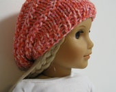 American Girl Doll -  Handknit Slouch hat--Pink /Red Mix