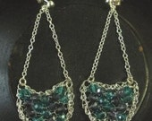411520 Sterling Silver, purple and turquoise Swarovski crystals crocheted earrings.  FREE Shipping