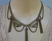 Bold Vintage Egyptian Revival Brass Necklace Choker with Fringe Cleopatra