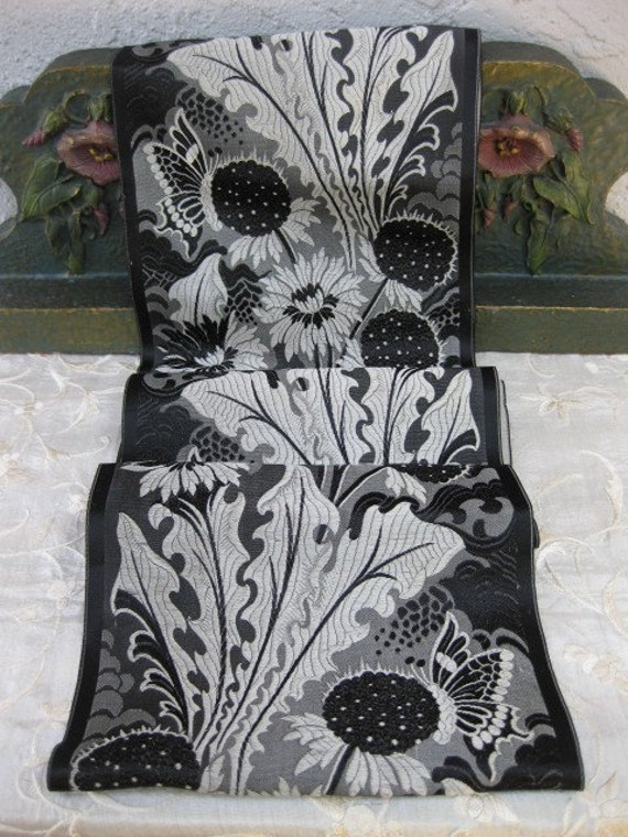 Exceptional Black and Silver Victorian Silk Ribbon Trim Sash Bridal Wedding  Butterflies and Flowers