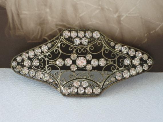 Vintage 1920's Art Deco Rhinestone Paste Sew On Sash Buckle Embellishment Applique Trim Edging Headband