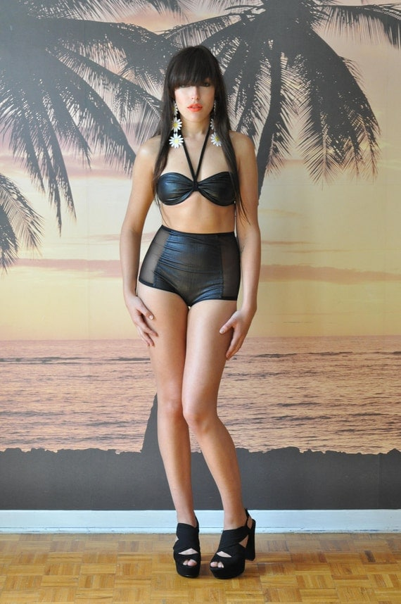 LAST ONE - High waist black 'leather' swimsuit, Size Small