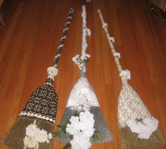 Items Similar To Wedding Ceremonial Brooms African Mudd Cloth Or Bridal Satin Wrapped W