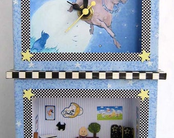 "ONLY TWO LEFT-Mother Goose Nursery Rhyme Clock and Roombox Kit in Quarter Inch or 1/4"" or 1:48th Scale"