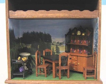 "Dining Room Furniture Set Kit (41a) in Quarter Inch or 1/4"" or 1:48th Scale or toy doll furniture for one inch scale"