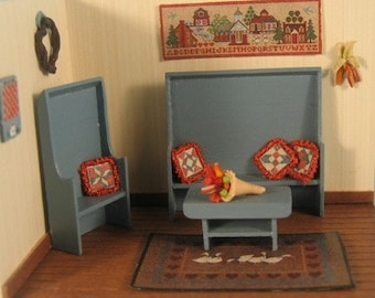 "Settle Bench, Chair and coffee Table (4) in Quarter Inch or 1/4"" or 1:48th Scale or toy doll furniture for one inch scale"
