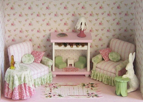 """Shabby Country Chic Upholstered Living Room Furniture Set Kit (Q13c) in 1/4"""" (1:48th) Scale or toy for one inch scale"""