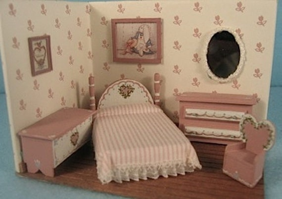 """TWO left - Sweetheart Bedroom Furniture Set Kit (5) in Quarter Inch or 1/4"""" or 1:48th Scale or toy doll furniture for one inch scale"""