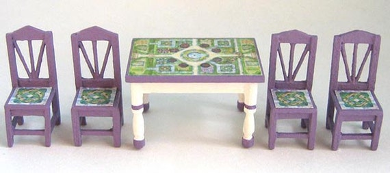 """Cottage Chic Dining Room Furniture Set Kit (49) in Quarter Inch or 1/4"""" or 1:48th Scale or toy doll furniture for one inch scale"""