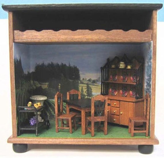 """Dining Room Furniture Set Kit (41a) in Quarter Inch or 1/4"""" or 1:48th Scale or toy doll furniture for one inch scale"""