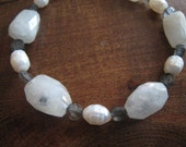 Chunky moonstone, pearl and labradorite bracelet